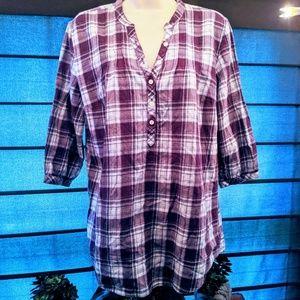 Fashion bug purple plaid 3/4 top size medium